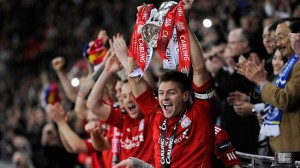 Liverpool win the Carling Cup.