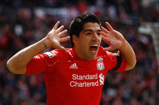 Liverpool 2-1 Everton, April 14, 2012- Luis Suarez celebrates his goal against Everton-818898