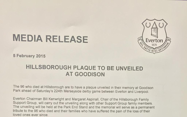 Hillsborough plaque to be unveiled at Goodison Park