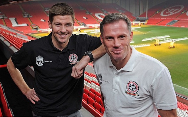 Jamie Carragher uses his son to mock Steven Gerrard's book on Instagram