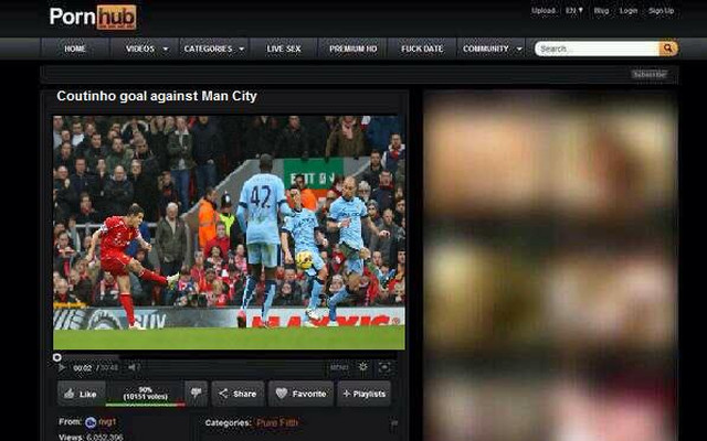 Coutinho's jaw-dropping Liverpool strike uploaded to porn site – categorised as 'Pure Filth'!