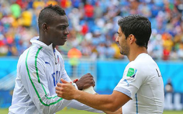 Looking for magic? Mario Balotelli asks to wear Luis Suarez's shin pads!