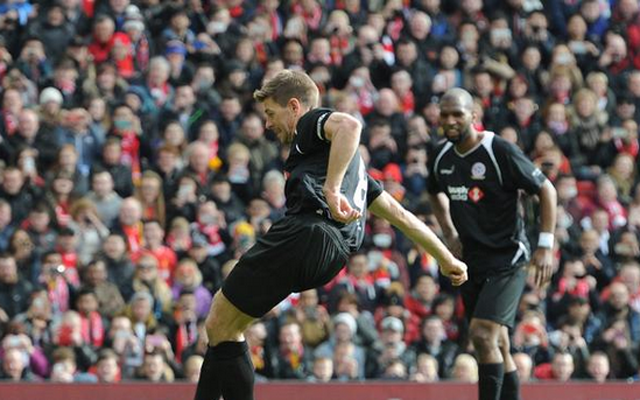 (Video) Steven Gerrard scores his second to square the Anfield charity match