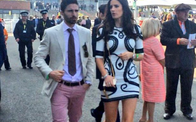 (Image) Fabio Borini boldly wears pink trousers to Aintree