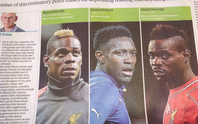 The Guardian mixes up two black Liverpool strikers, Mario Balotelli & Daniel Sturridge, in article about racism