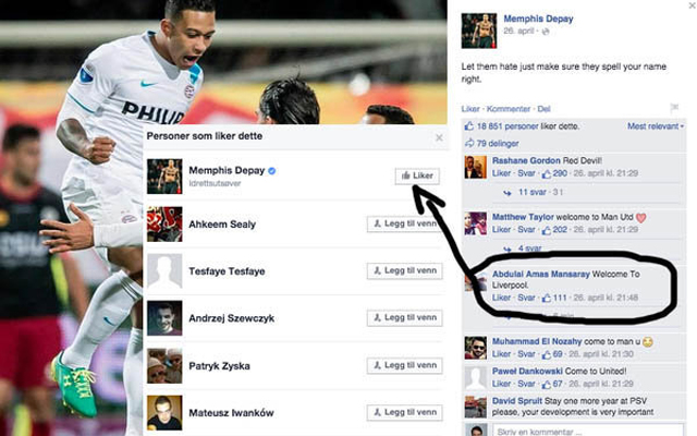 Memphis Depay drops hint over Liverpool move on Facebook
