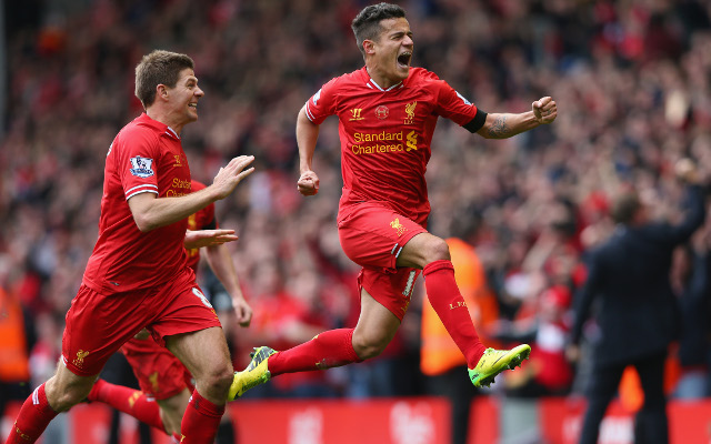 (Image) Steven Gerrard congratulates Philippe Coutinho on PFA Team of the Year inclusion
