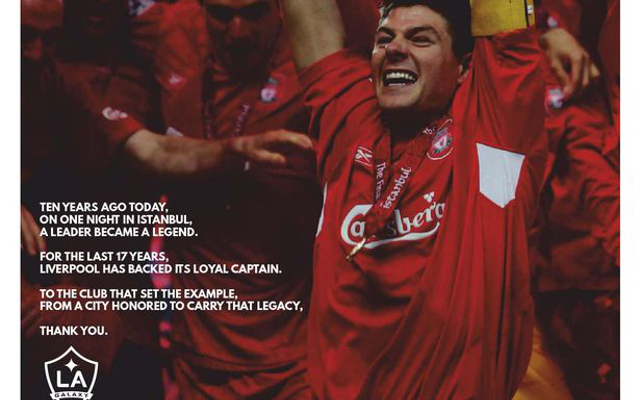 (Image) LA Galaxy take out full-page ad for Steven Gerrard tribute