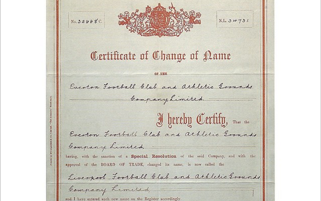 (Image) Liverpool commemorate 123rd birthday with creation certificate from 1892
