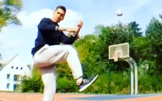 (Video) Wow… Watch Roberto Firmino kick a football into a basketball hoop!