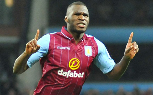 Editorial use only. No merchandising. For Football images FA and Premier League restrictions apply inc. no internet/mobile usage without FAPL license - for details contact Football Dataco Mandatory Credit: Photo by NSJsport/REX Shutterstock (4611445i) Aston Villa's  Christian Benteke celebrates scoring their third goal Aston Villa v Queens Park Rangers QPR, Barclays Premier League, Villa Park, Britain - 07 Apr 2015