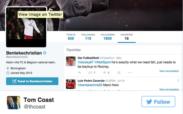 Benteke ACTIVELY FINDS tweet linking him to Man United – favourites it!