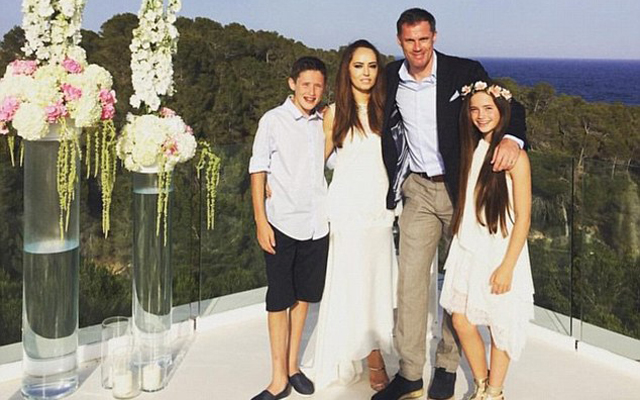 (Images) Congratulations Jamie! Carragher celebrates tenth anniversary in Ibiza
