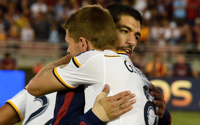 (Video) Former Liverpool favourites Gerrard and Suarez reunite in pre-season clash