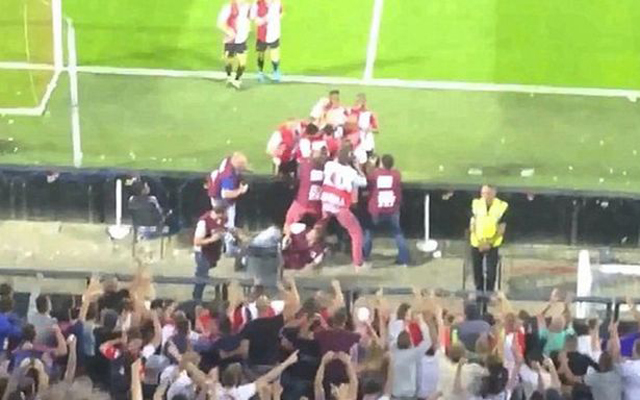 (Video) Liverpool favourite Dirk Kuyt sparks photographer brawl after scoring penalty
