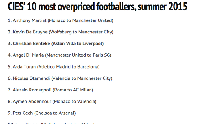 CIES Football Observatory calculates most underpriced & overpriced summer transfers – Benteke bad value, Sterling cheap