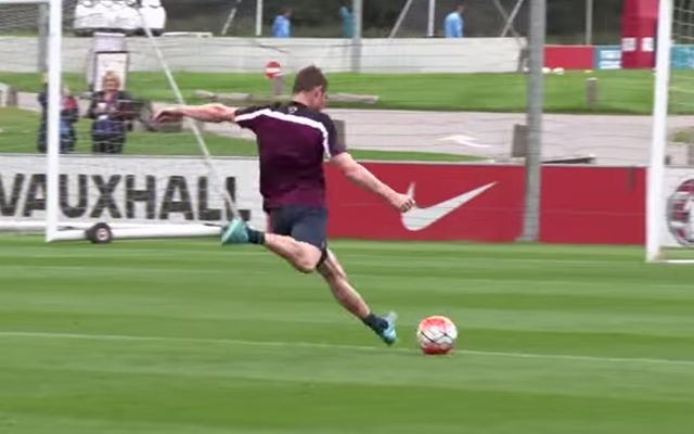(Video) Liverpool's James Milner scores stunning goal in England training session