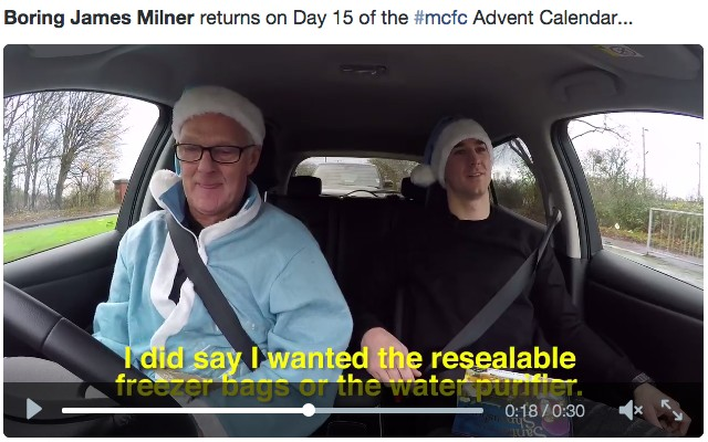 (Video) James Milner calls up Joe Hart with his Xmas list and is more boring than ever!