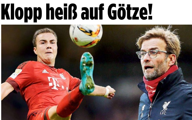 Bild: Liverpool boss wants Mario Gotze, who won't renew contract, for £37m