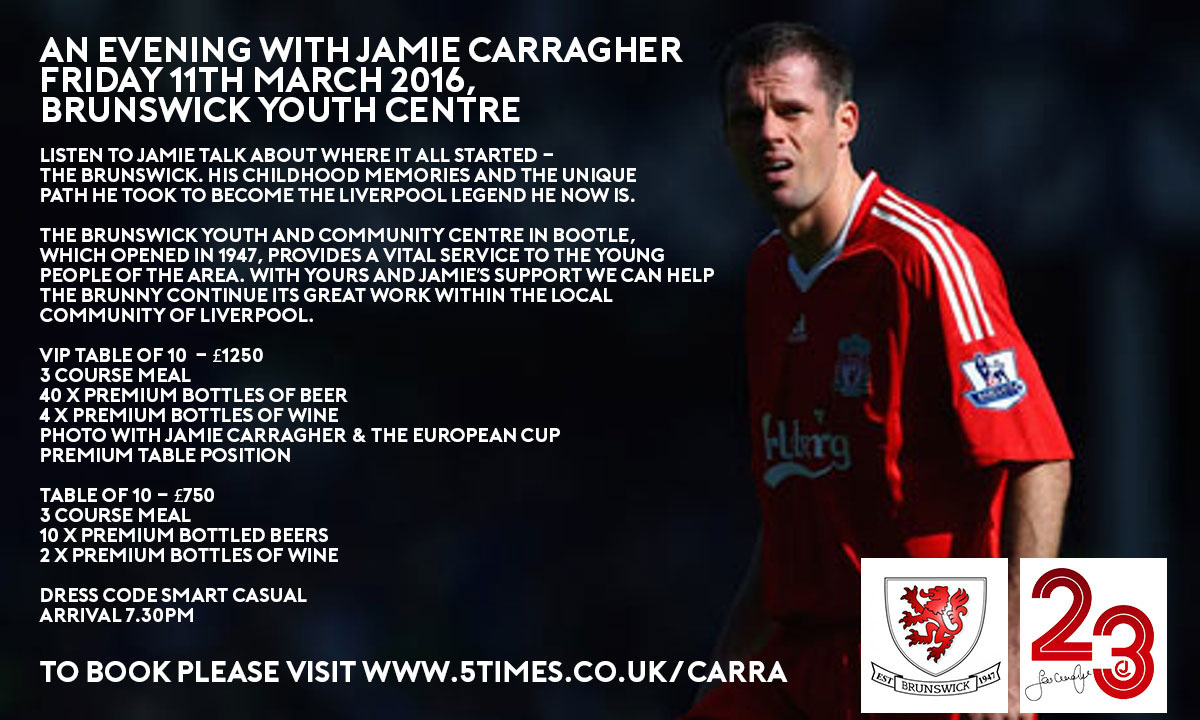 Jamie Carragher Event Friday 11th March 2016 in Bootle