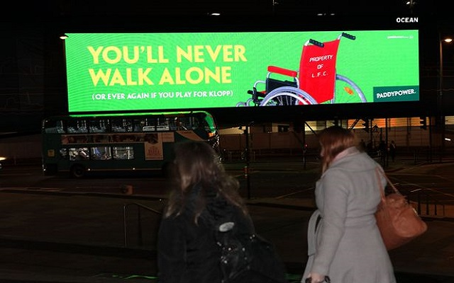 Paddy Power troll Reds with massive electronic billboard