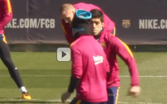 (Video) Luis Suarez fumes at Mascherano in training – kicks out at giggling team-mate
