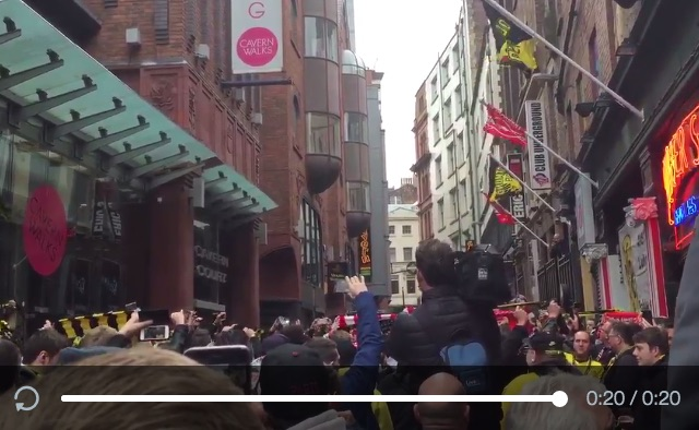 (Video) Liverpool & Dortmund fans sing unplanned YNWA in streets, and it's beautiful
