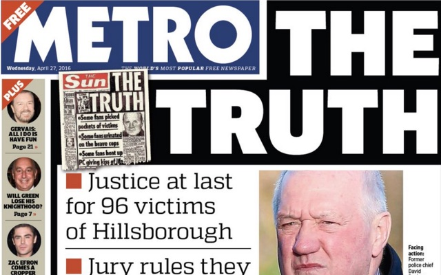Collection of today's best Hillsborough front pages: Metro, Independent, Echo & Guardian show most respect