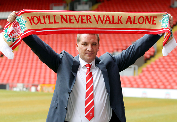 Football - Liverpool - Brendan Rodgers Press Conference - Anfield - 1/6/12 Brendan Rodgers poses after being announced as the new Liverpool manager Mandatory Credit: Action Images / Ed Sykes Livepic
