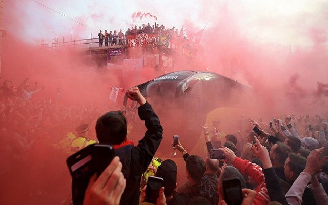 (Video) Incredible moment Liverpool bus arrived at Anfield – Red smoke fills the city