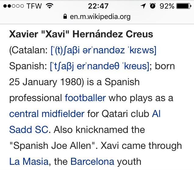 Xavi wikipedia entry
