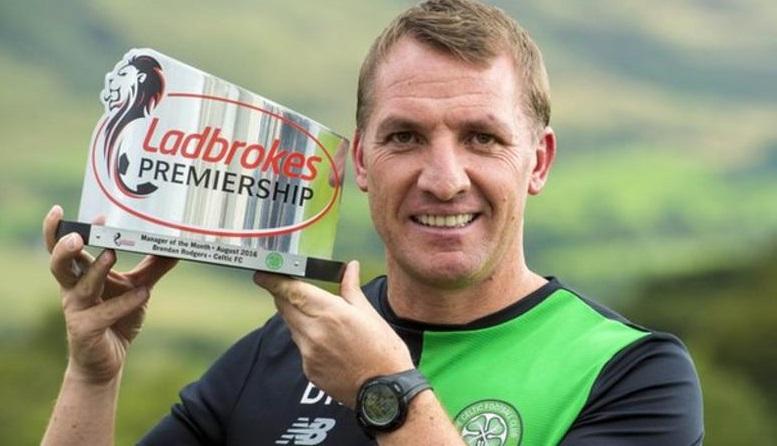 Former boss Brendan Rodgers bags his first major award as Celtic boss