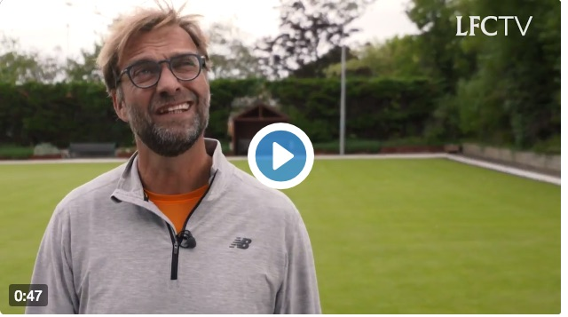 (Video) Jurgen Klopp hilarious as boss plays lawn bowls with local club in Liverpool