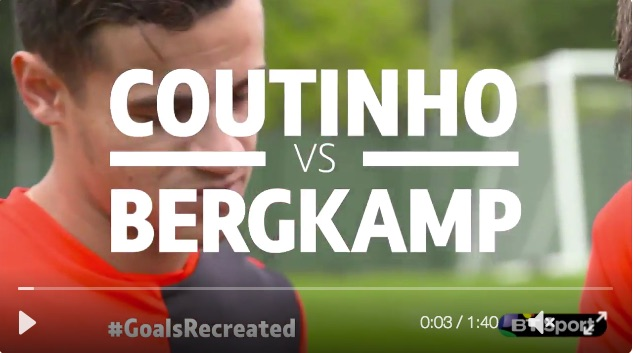 (Video) Coutinho recreates Bergkamp's famous goal v Newcastle