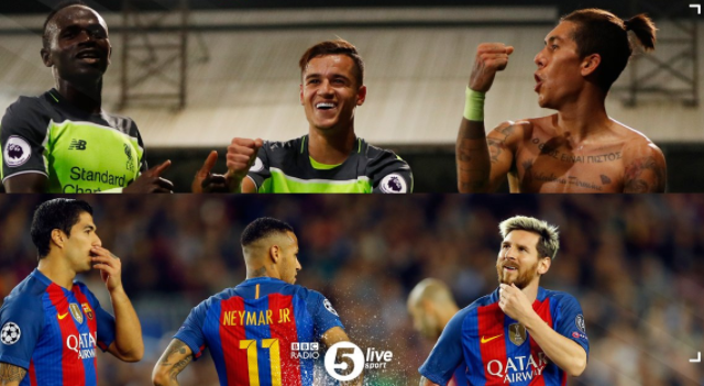 Listen to bold comparison of Liverpool's 'MCF' & Barca's 'MSN'
