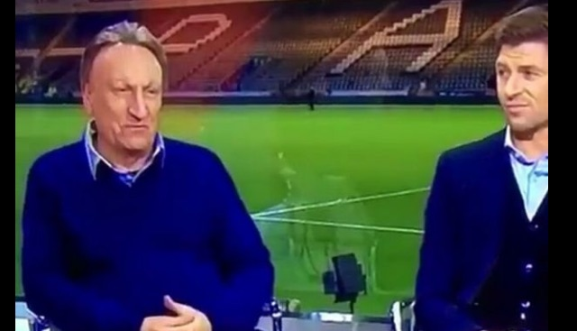 (Video) Gerrard stares down Warnock after idiotic manager makes offensive joke about city of Liverpool