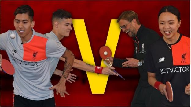 (Video) Klopp & quality partner battle LFC's Brazilians in ping-pong match