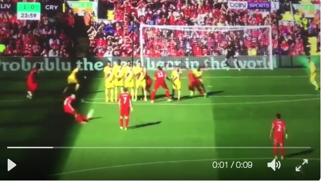 (Video) Coutinho bags jaw-dropping free-kick for Liverpool v Palace
