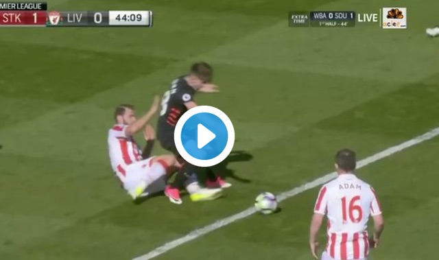(Video) Ref robs Liverpool of penalty; Stoke score straight afterwards