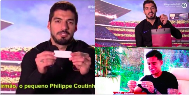 Coutinho included in Barca-themed secret santa; Luis Suarez gifts LFC ace Vodka