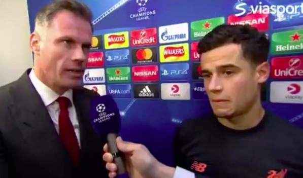 Coutinho & Carra awkwardly answer Barcelona questions next to each other