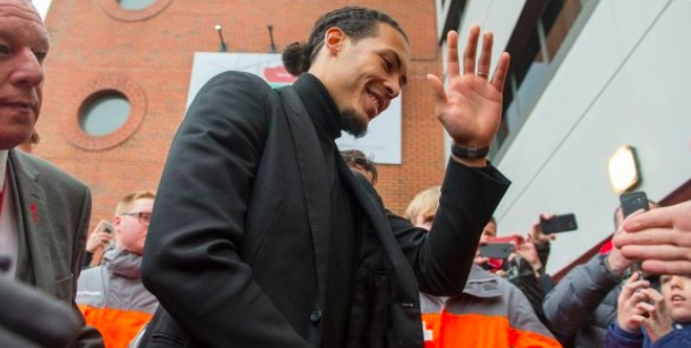 Watch £75m Virgil van Dijk mobbed by LFC fans as he enters Anfield…