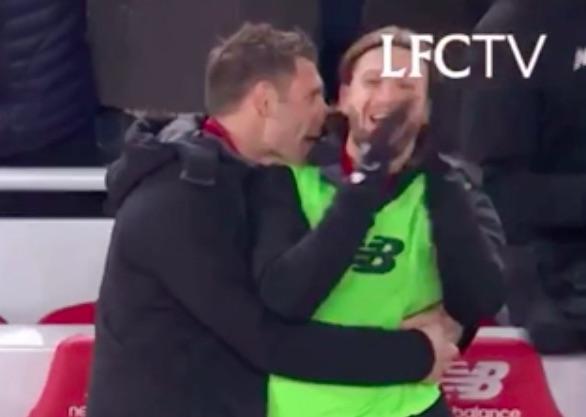 Footage of Milner & Lallana celebrating Salah's goal is hilarious…