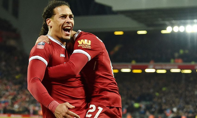 Van Dijk's reaction to his Merseyside derby winner is glorious…