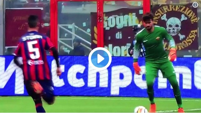 (Video) Alisson goes viral after ludicrous skill for AS Roma