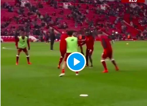 (Video) Mo Salah ruins LFC team-mates in pre-match warmup