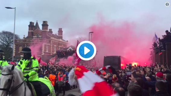 (Video) The Welcome Manchester City's bus just got at Anfield…