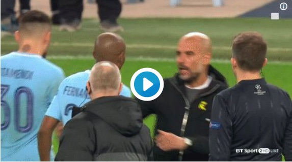 (Video) Watch Pep Guardiola sent off for half-time verbal assault towards ref