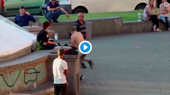 (Video) Thug fights random fans in Kiev; Gets what he deserves