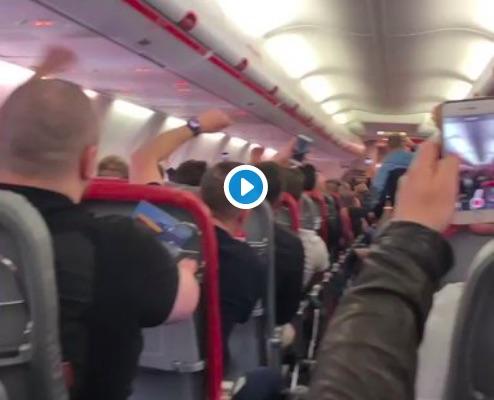 (Video) LFC Fans 'Allez Allez Allez' the plane to Rome